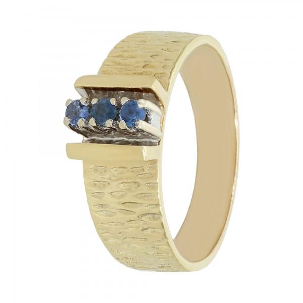 Ring 8 K. Gelbgold mit 3 blau Saphiren