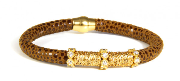 Armband Leder/ Kupfer braun mit Zirkonia