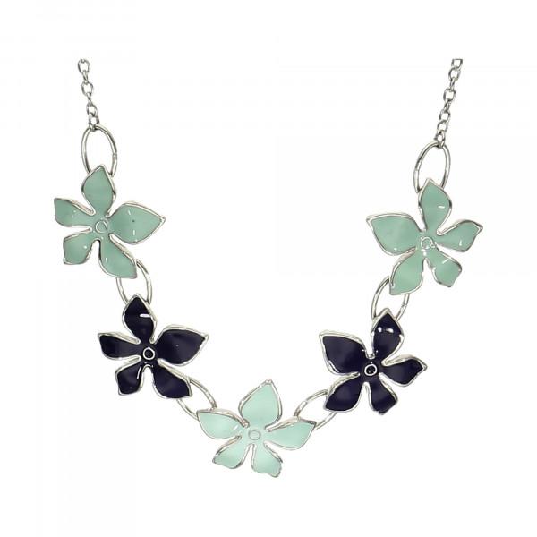 Collier Metall mit blauen Emaille Blüten