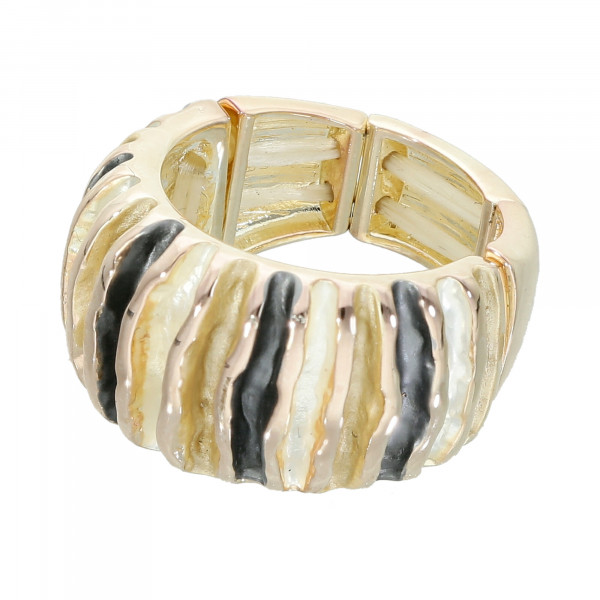Stretch-Ring Tri-Colour silber,grau,gold