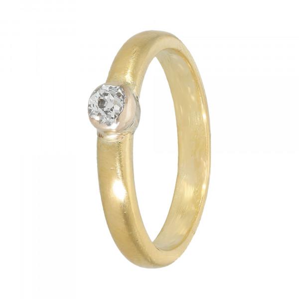 Ring 900 Gelbgold mit Diamant Altschliff ca. 0,25 ct.