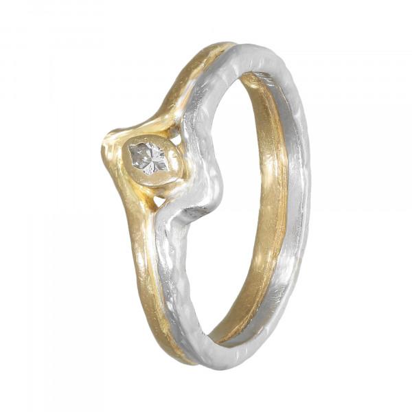 Ring Platin 950/750 bicolor mit Brillant