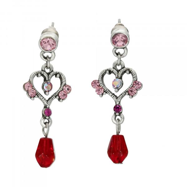 Ohrhänger rhodiniert mit Kristallen rosé