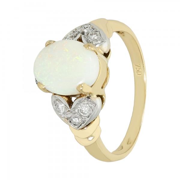 Ring 750 Gelbgold mit weißem Opal und Brillanten