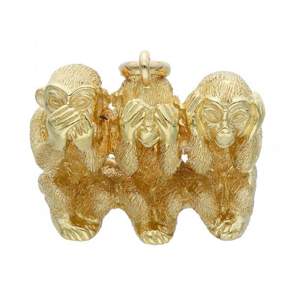 """Anhänger 585 Gelbgold """"Drei Affen"""""""