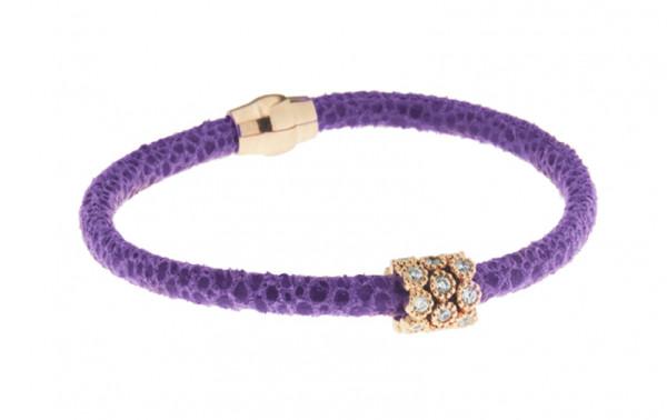 Armband Leder violett mit Zirkonia