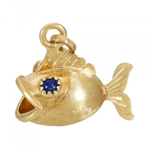 Anhänger 750 Gelbgold Fisch mit 2 blauen Quarzsteinen