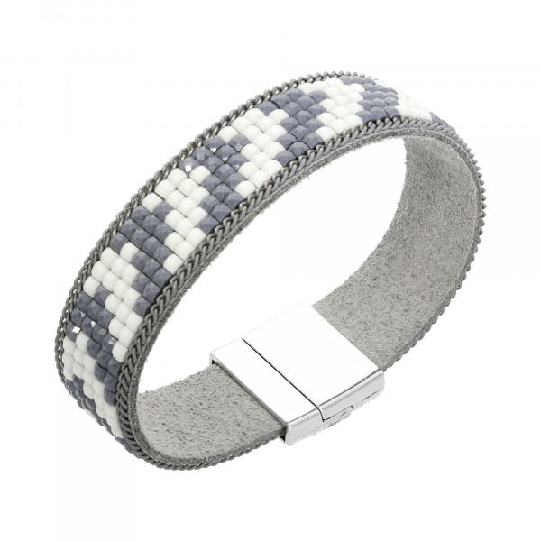 Armband Leder grau/weiß