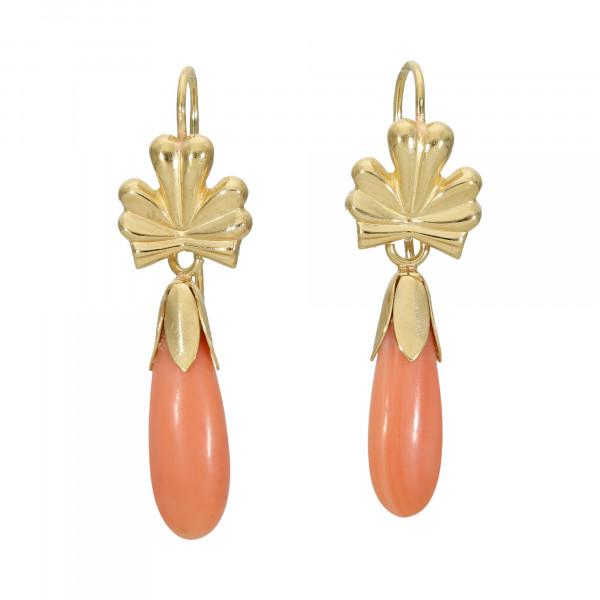 Ohrhänger 750 Gelbgold mit Koralle