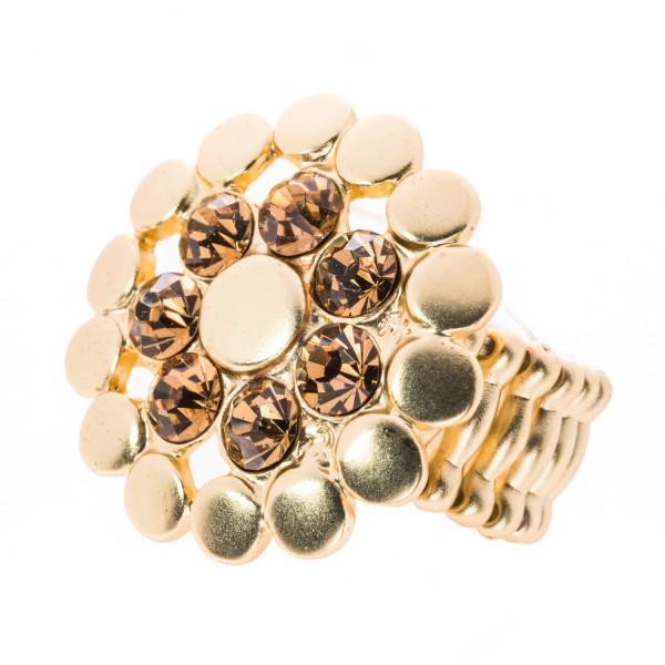 Elastik-Ring matt-gold mit 7 Kristallen