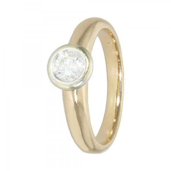 Ring bicolor 585 mit 1 Brillanten ca. 0,50 Karat