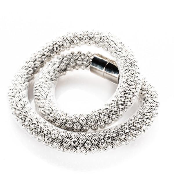 Collier mit Magnetverschluss weiß/silber