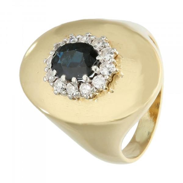 Ring 750 bicolor mit Saphir und Brillant