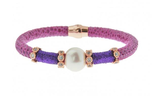 Armband Leder/Kupfer violett mit Perle + Zirkonia