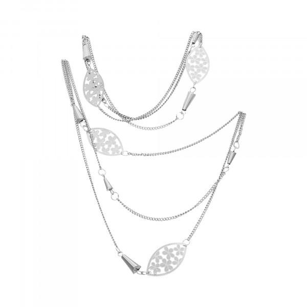 Kette Metall 3 reihig mit Blumendekor-Ornamenten