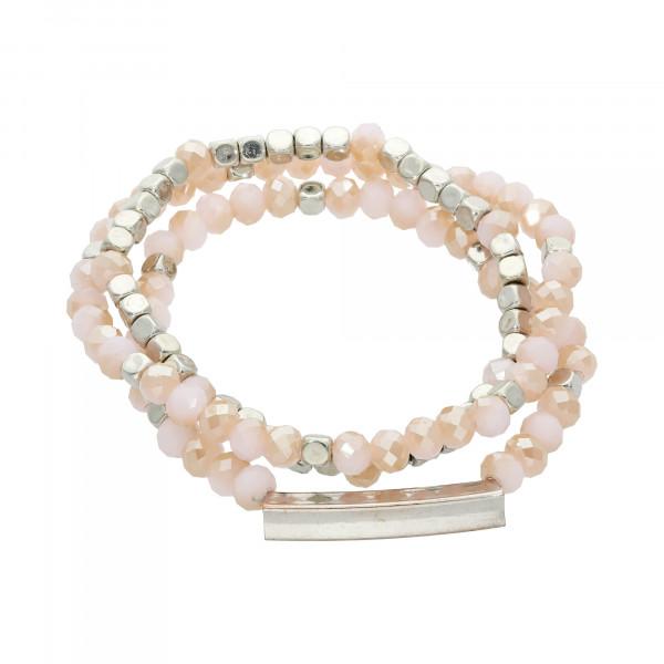 Armband Kristall rosé 3 reihig