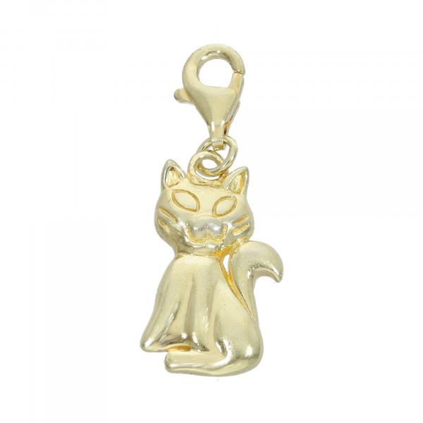 Anhänger 925 Silber vergoldet mit Katze