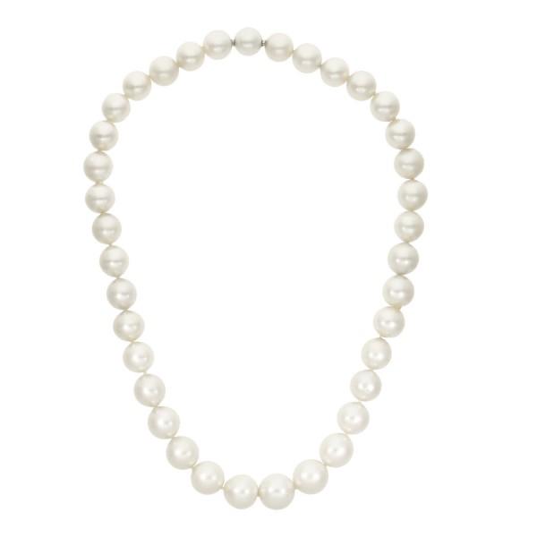 Perlencollier aus 36 Südseeperlen mit Kugelschloß 750