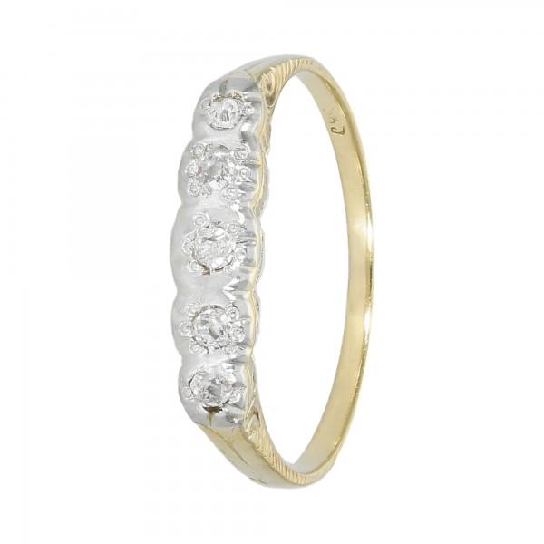 Ring bicolor 585 ziseliert mit Diamanten Altschliff ca. 0,13 ct.