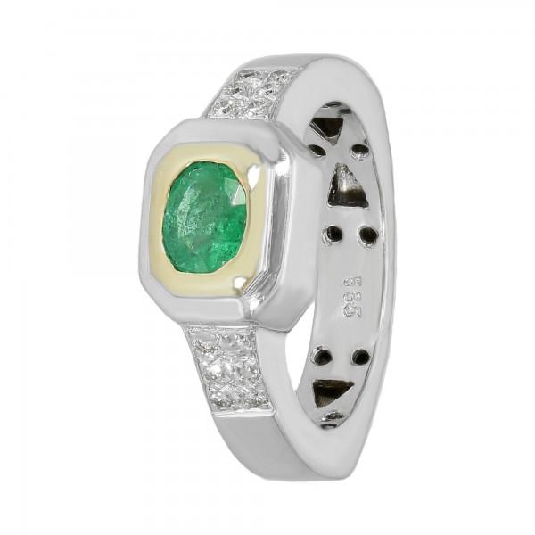Ring 585 bicolor mit Smaragd und Brillant ca. 0,24ct.