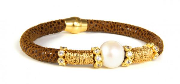 Armband Leder/Kupfer braun mit Perle + Zirkonia