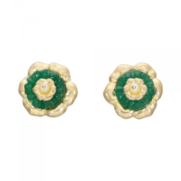 Ohrstecker 750 Gelbgold mit Jade und Perle
