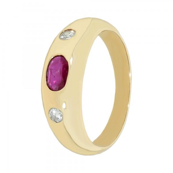 Ring 585 Gelbgold mit Rubin und Brillant ca. 0,14 ct.