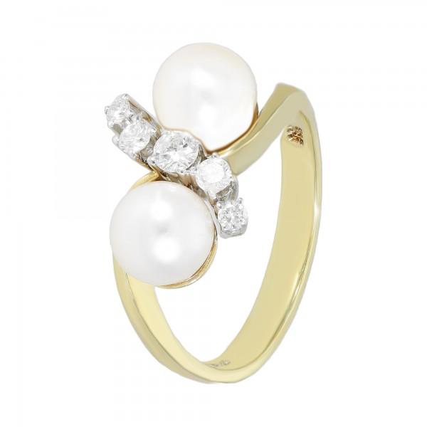 Ring 585 Gelbgold mit 2 Perlen + 5 Diamanten