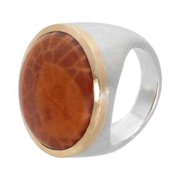 Ring Silber 925 bicolor mit 1 orange Stein